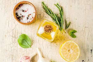 Fresh herbs and spices for cooking