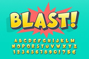 Trendy 3d comical font design, colorful alphabet