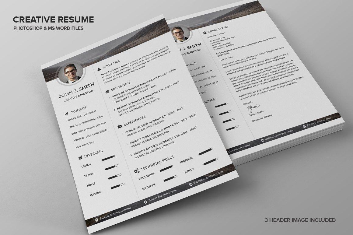 creative resume cv resume templates creative market - Ce Resume