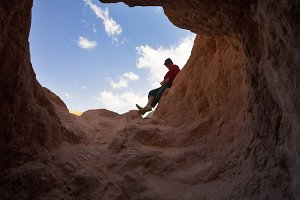 On edge of a cave