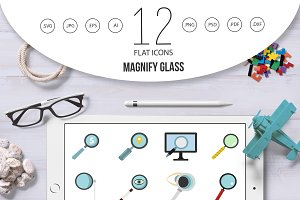 Magnify glass icon set, flat style