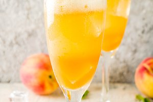 Summer peach Bellini cocktail