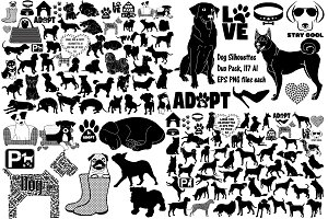 Dog Silhouette Duo Pack AI EPS PNG