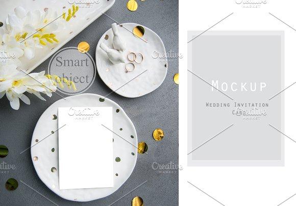 Invitation Mockup Golden Wedding