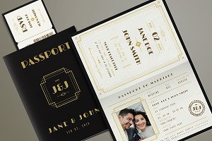 Art Deco Passport Wedding Invitation