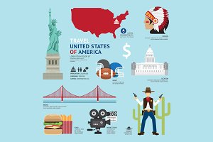 Travel Concept USA Landmark Flat
