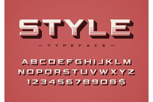 The Style trendy retro display font design, alphabet, typeface,