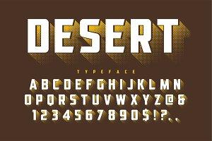Desert retro display font popart design, alphabet, letters