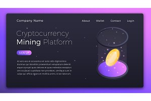 Cryptocurrency Mining. Isometric illustration of Cryptocurrency Online Mining Platform. Crypto Mining Industry concept