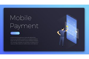 Mobile payment. Isometric illustration of man choosing card for online payment. Online payment concept page design