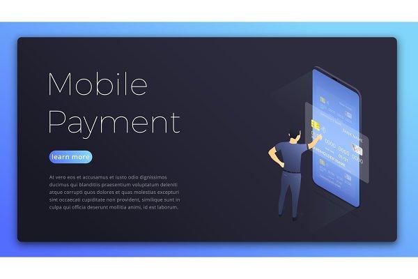 Mobile payment. Isometric illustrat…