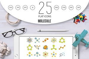Molecule icon set, flat style