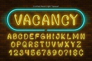 Handmade neon light alphabet, realistic extra glowing font
