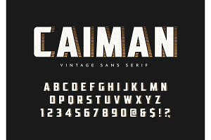 Caiman trendy sans serif retro typeface, font, letters and numbe