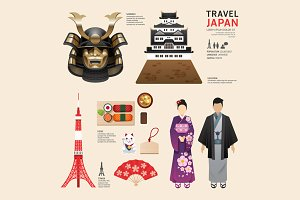 Japan Flat Icons Design Travel