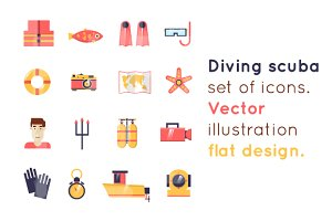Diving scuba icons 4 illustrations.