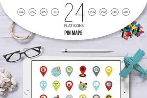 Pin map icon set, flat style