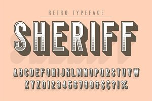 Sheriff trendy vintage display font design, alphabet