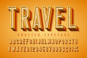 Good vibes retro typeface. 3d display font, poster
