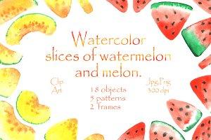 Watercolor melon and watermelon!
