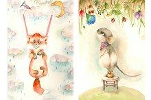 Cartoon watercolor animals