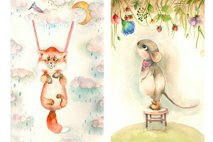Cartoon watercolor animals