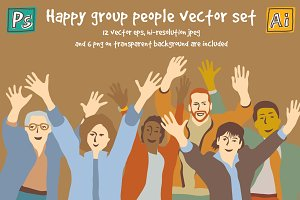 Happy group people vector set