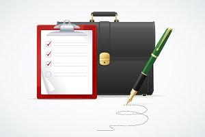 Vector briefcase, cuitcase concept