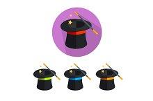 Vector magic hat icon set