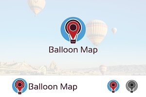 Air Balloon Pinned Map Logo