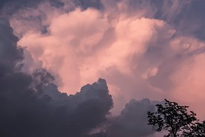 Great pink-grey storm sky