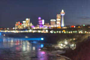 Blurred Niagara falls view at night
