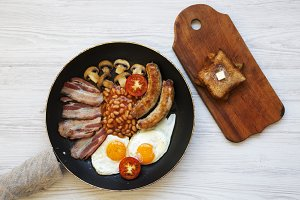 Top view, English breakfast in a pan