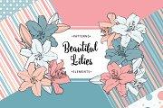 Monochrome lilies for design