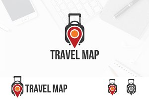 Travel Bag Pinned Map Location Logo