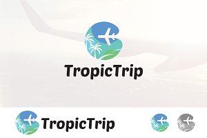 Tropical Travel Tour Flight Logo