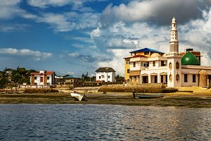 Buildings on the sea in Lamu