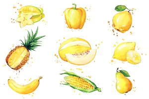 Set of yellow foods, watercolor