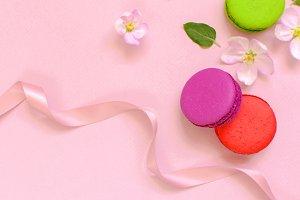 Cake macaron or macaroon and flowers