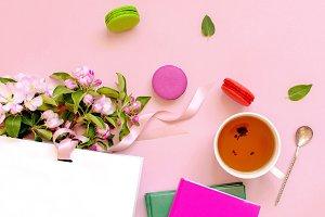 Cup of tea and cake macaron