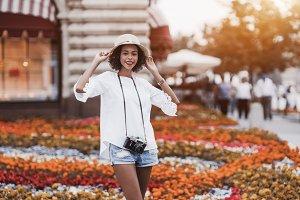 Brazilian tourist girl outdoors