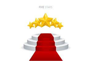 Vector podium with red carpet, stars