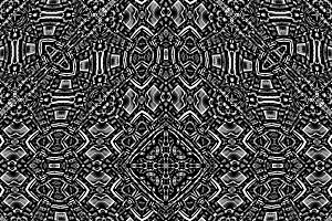 Black and White Ethnic Ornate Seamless Pattern