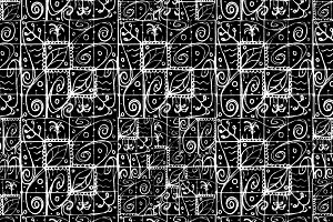 Black and White Ethnic Baroque Seamless Pattern