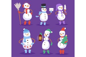 Snowman vector cute cartoon winter christmas character man holiday merry xmas snow boys and girls illustration