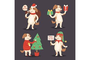 Christmas dog vector cute cartoon puppy character illustration pet doggy Xmas celebrate pose illustration