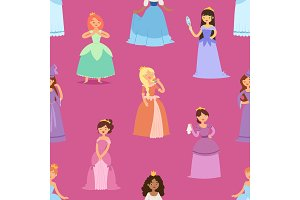 Cartoon girl vector princess characters different fairy-tale clothes dress fairy woman cute adorble girls illustration seamless pattern background