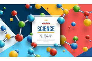 Science banner with color molecules