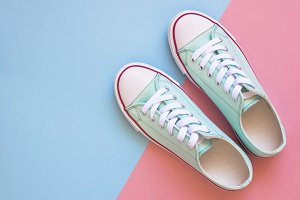 Pastel turquoise female sneakers