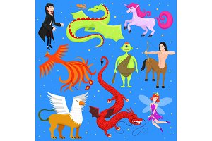 Mythological animal vector mythical creature phoenix or fantasy fairy and characters of mythology centaur unicorn or griffin illustration set of cartoon beasts isolated on background